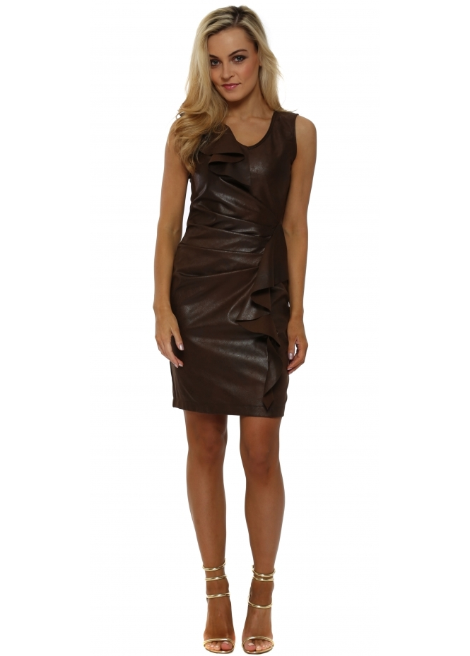 Rinascimento Brown Faux Leather Waterfall Frill Pencil Dress