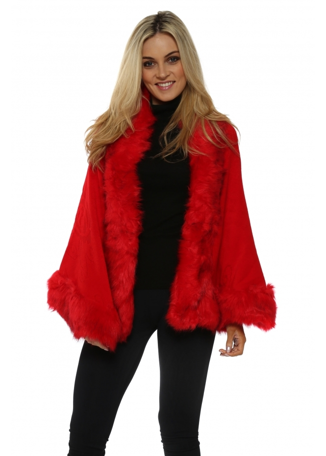 Urban Mist Scarlet Red Knitted Embossed Faux Fur Trim Cape