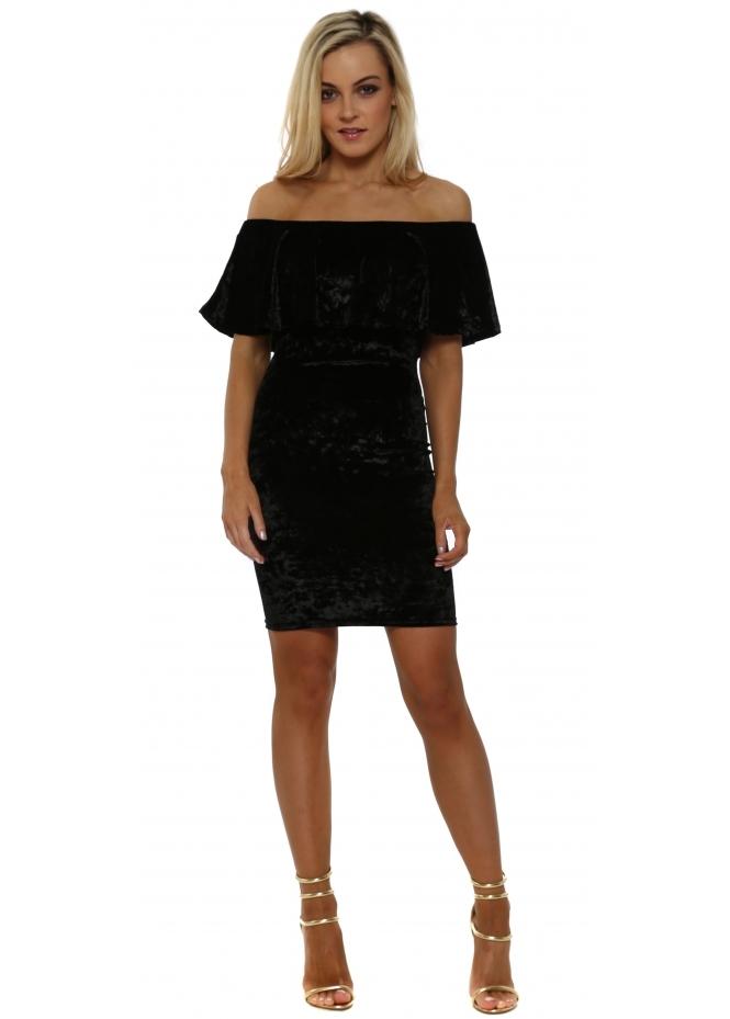French Boutique Black Crushed Velvet Bardot Pencil Dress