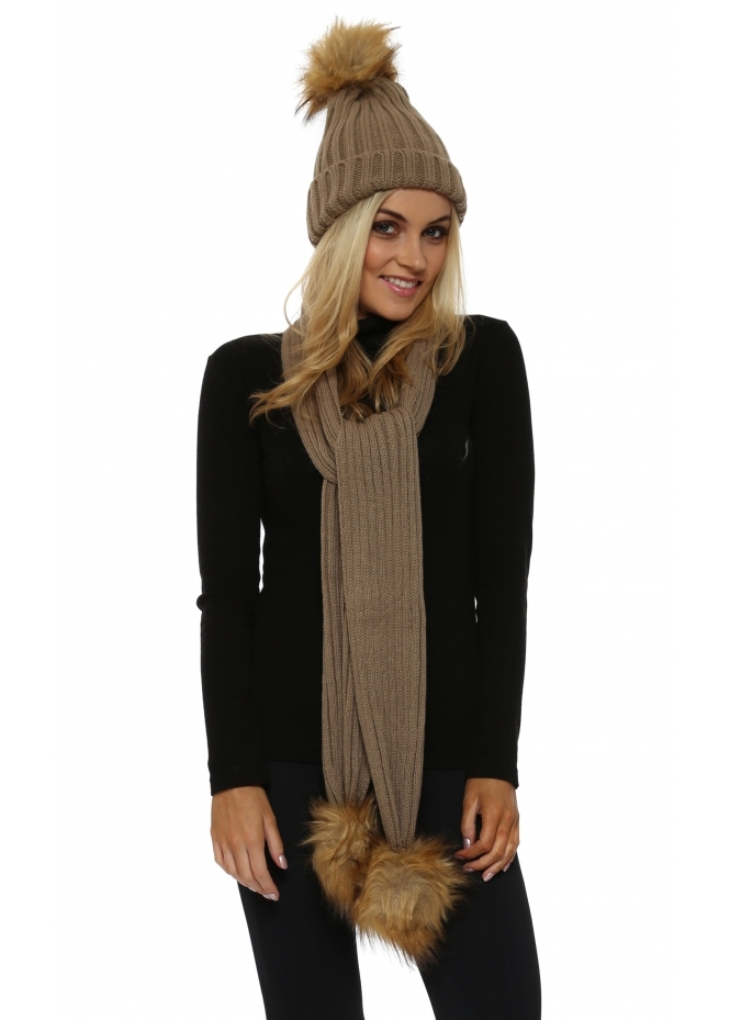 mist taupe faux fur pom pom cable knit scarf hat set