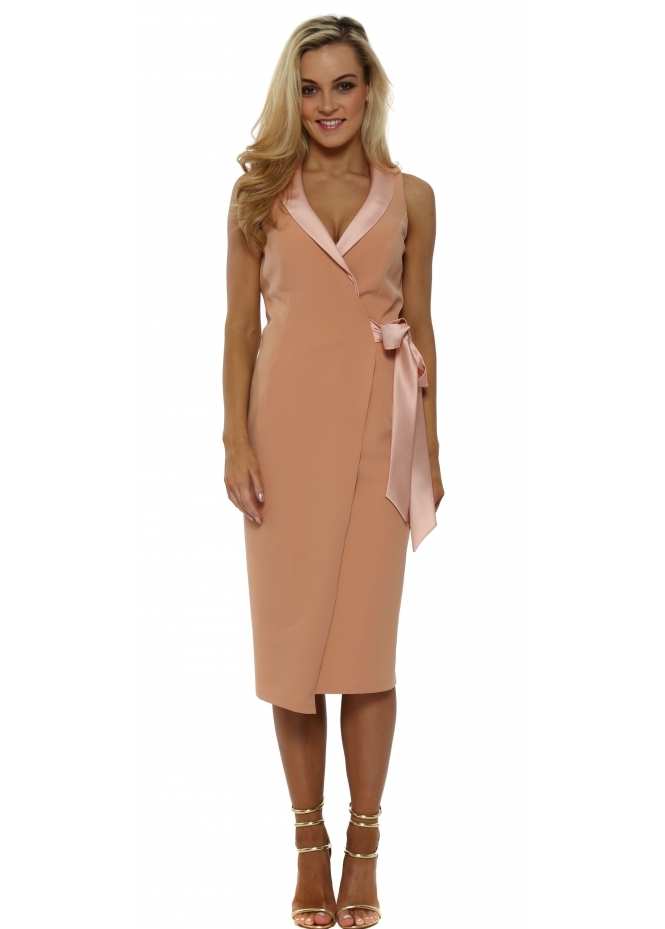 Genese Kaye Blush Tuexdo Wrap Dress