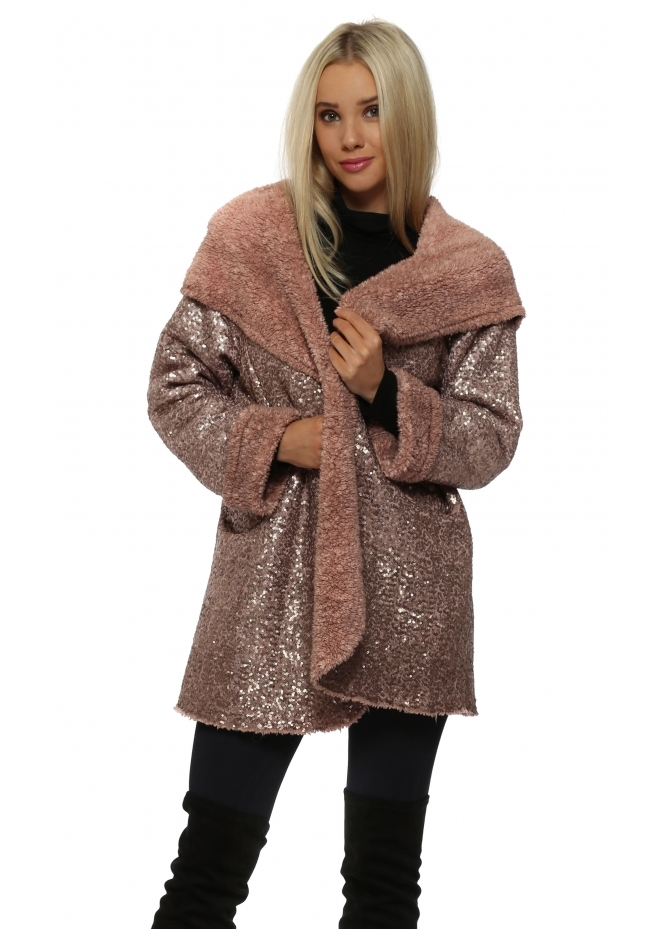 Made In Italy Dusky Pink Fully Sequinned Hooded Coat