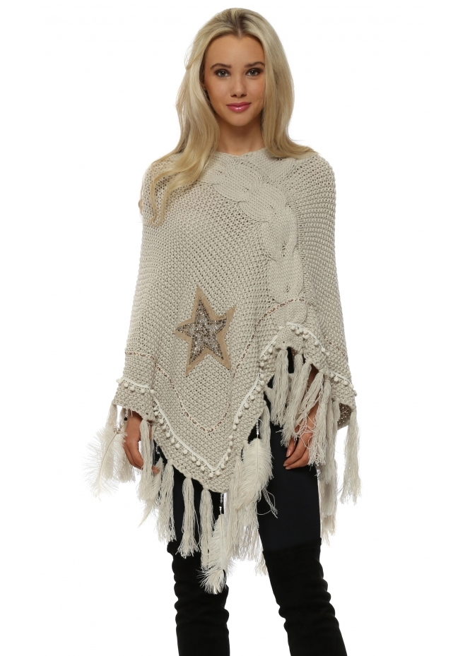 French Boutique Beige Cable Knit Jewelled Star & Feather Poncho