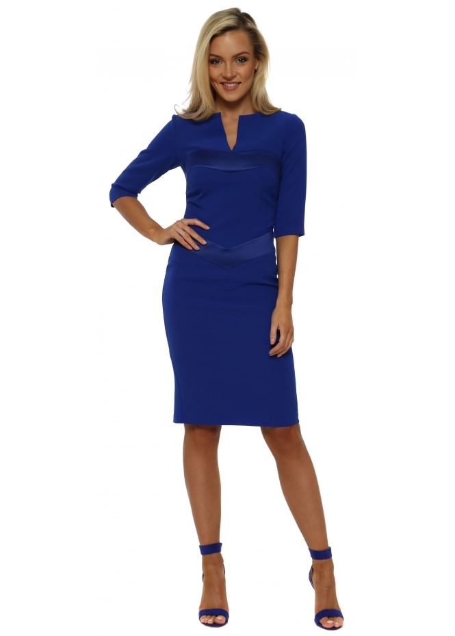 Eden Row Mirabel Sapphire Blue Satin Detail Pencil Dress