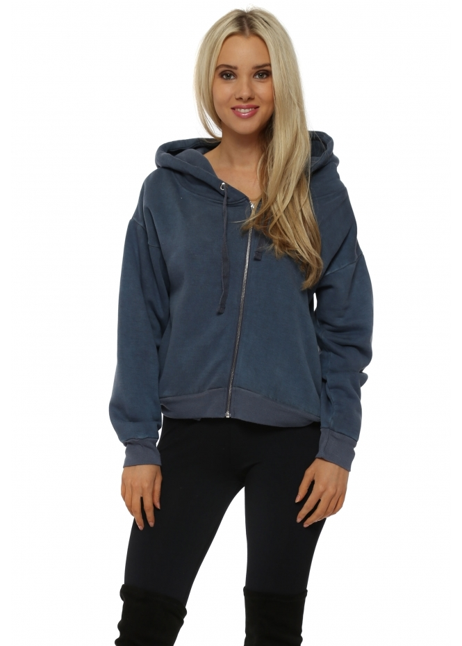 A Postcard From Brighton Pia Wet Slate Polar Fleece Hoodie Top