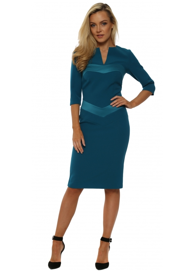 Eden Row Mirabel Teal Satin Detail Pencil Dress
