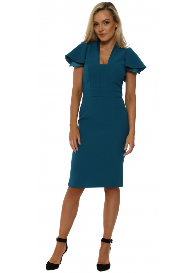 Eden Row Teal Camden Ruffle Sleeve Pencil Dress