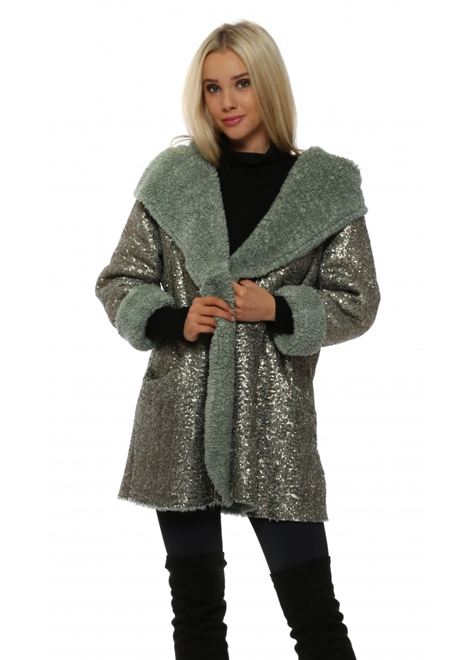 Made In Italy Green Fully Sequinned Hooded Coat