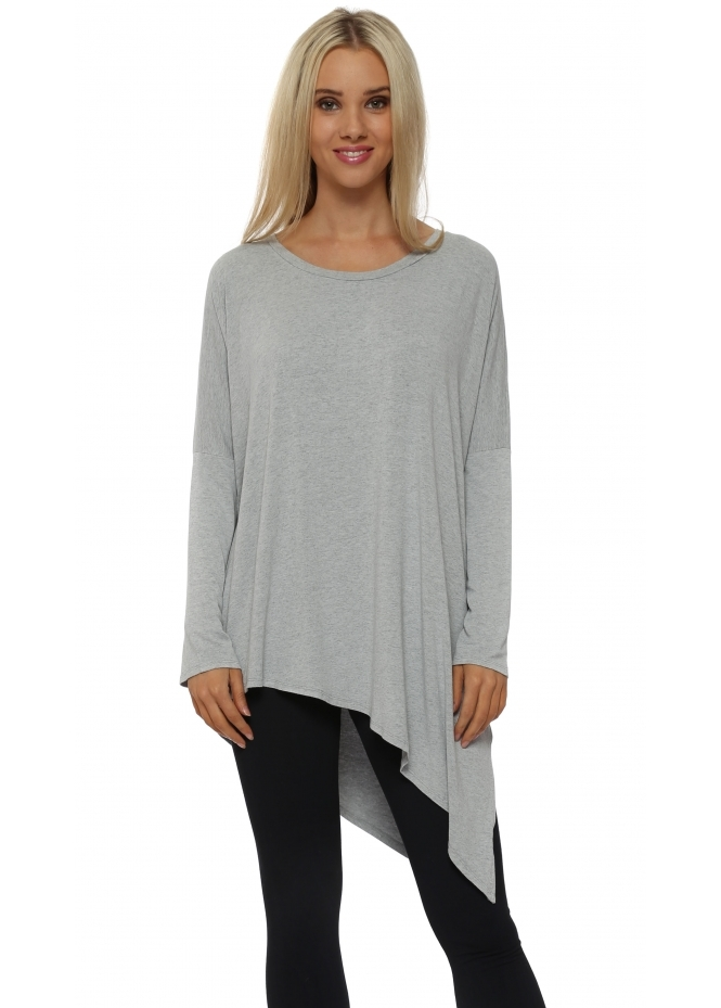A Postcard From Brighton Kamelian Putty Melange Asymmetric Tunic Top