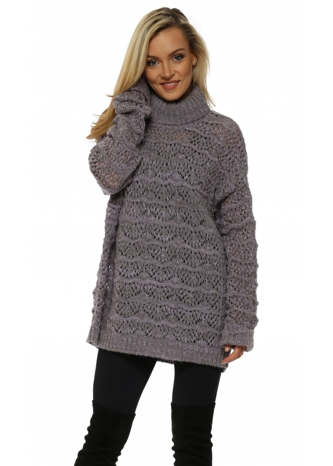 A Postcard From Brighton Victoria Knit Mauve Cable Roll Neck Jumper