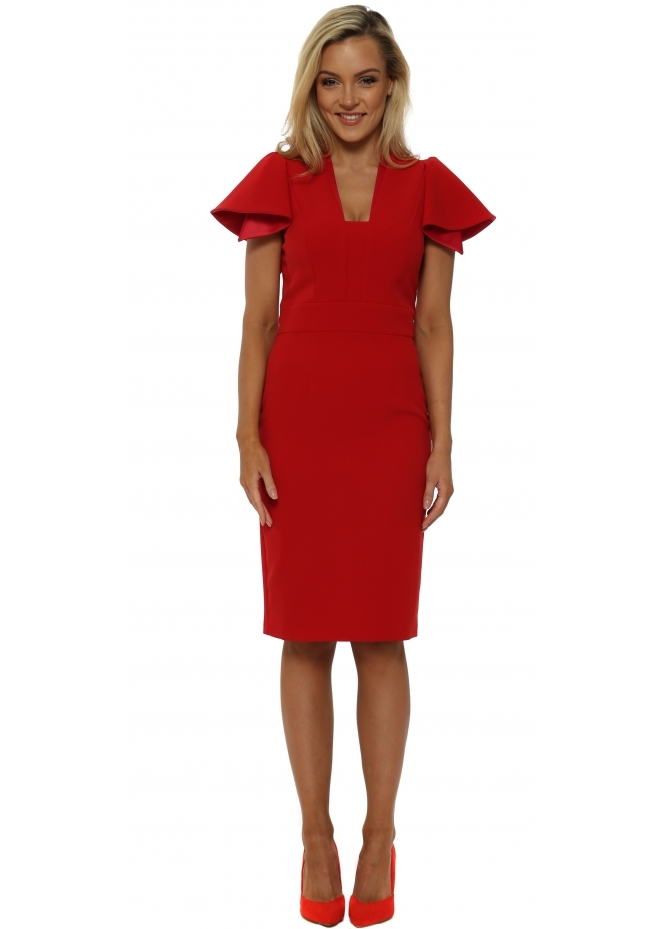 Eden Row Red Camden Ruffle Sleeve Pencil Dress