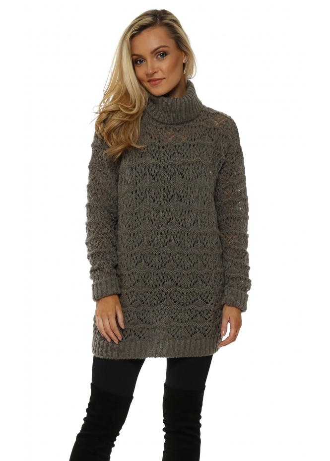 A Postcard From Brighton Victoria Herb Cable Roll Neck Jumper