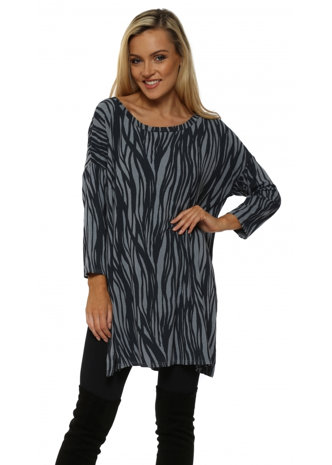 A Postcard From Brighton Raquel Rhythm Tunic Split Top In Stormy