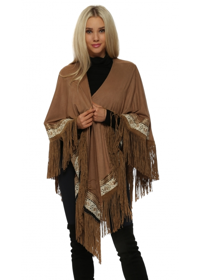 My Story Tan Faux Suede Tassel Gold Braid Cape