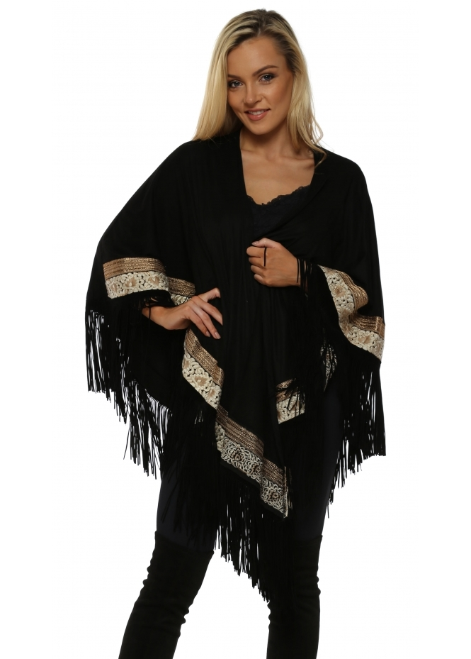 My Story Black Faux Suede Tassel Gold Braid Cape