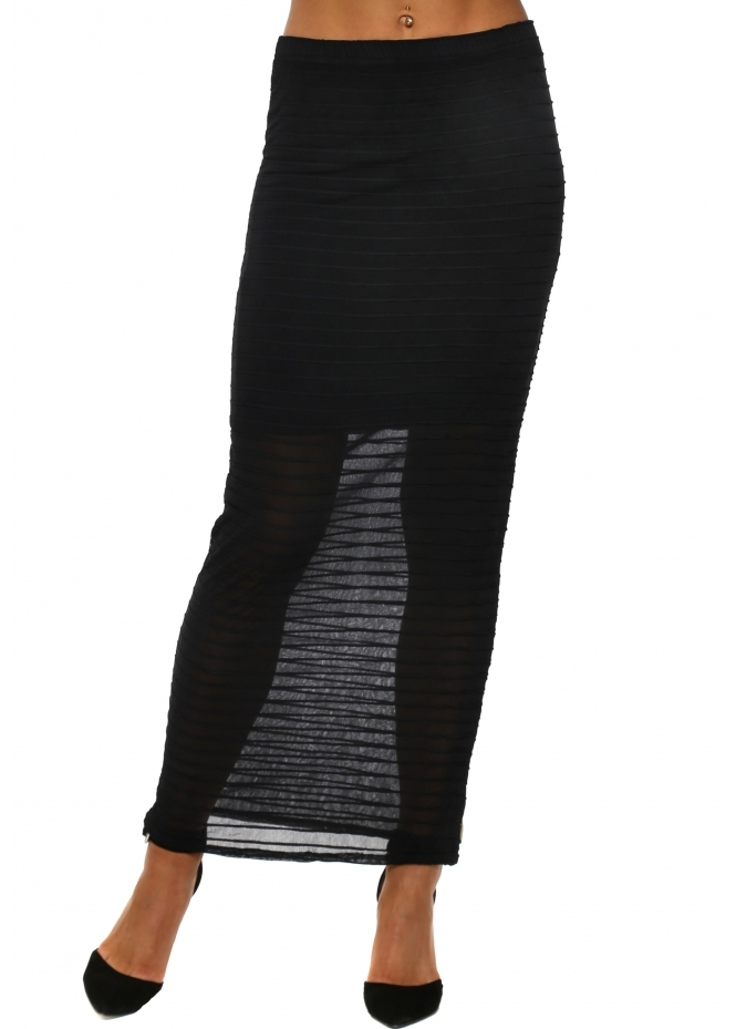 A Postcard From Brighton Katy Chiffon Stripe Black Maxi Skirt