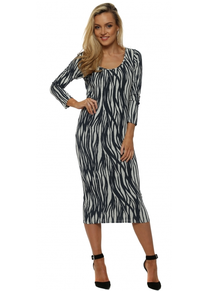 A Postcard From Brighton Rae Rhythm Long Sleeve Midi Dress In Bone