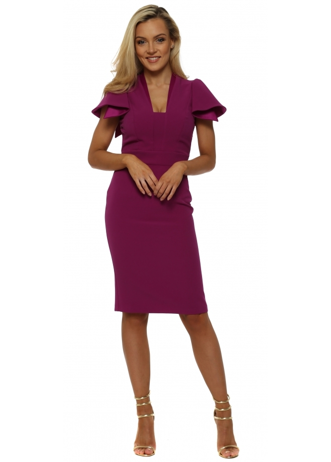 Eden Row Magenta Camden Ruffle Sleeve Pencil Dress