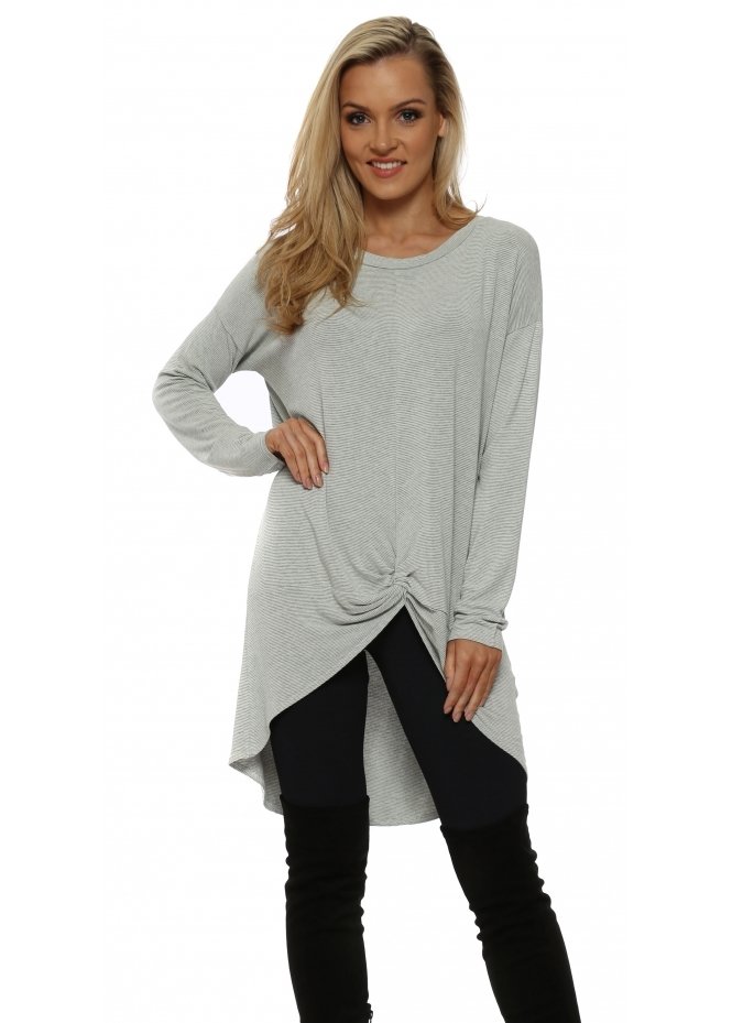 A Postcard From Brighton Frankie Bone Stripe Knotted Front Slouch Top