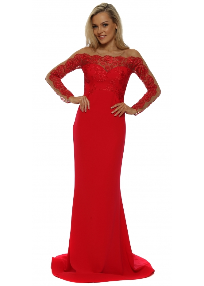 Pia Michi Red Long Sleeve Lace Evening Dress