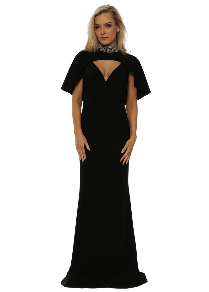 Pia Michi Black Cape Jewelled Collar Evening Dress