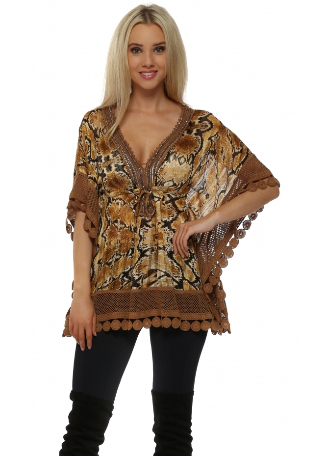 Laurie & Joe Tan Lace Trimmed Snakeprint Top