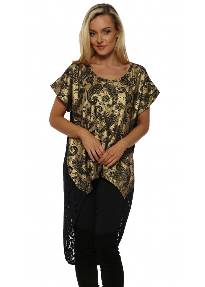 A Postcard From Brighton Paloma Gold Paisley & Lace Dip Hem Tunic Top