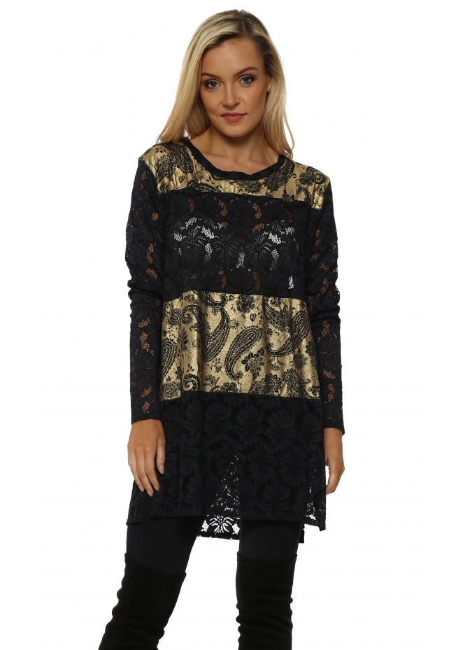 A Postcard From Brighton Peyton Gold Paisley & Lace Tunic Top