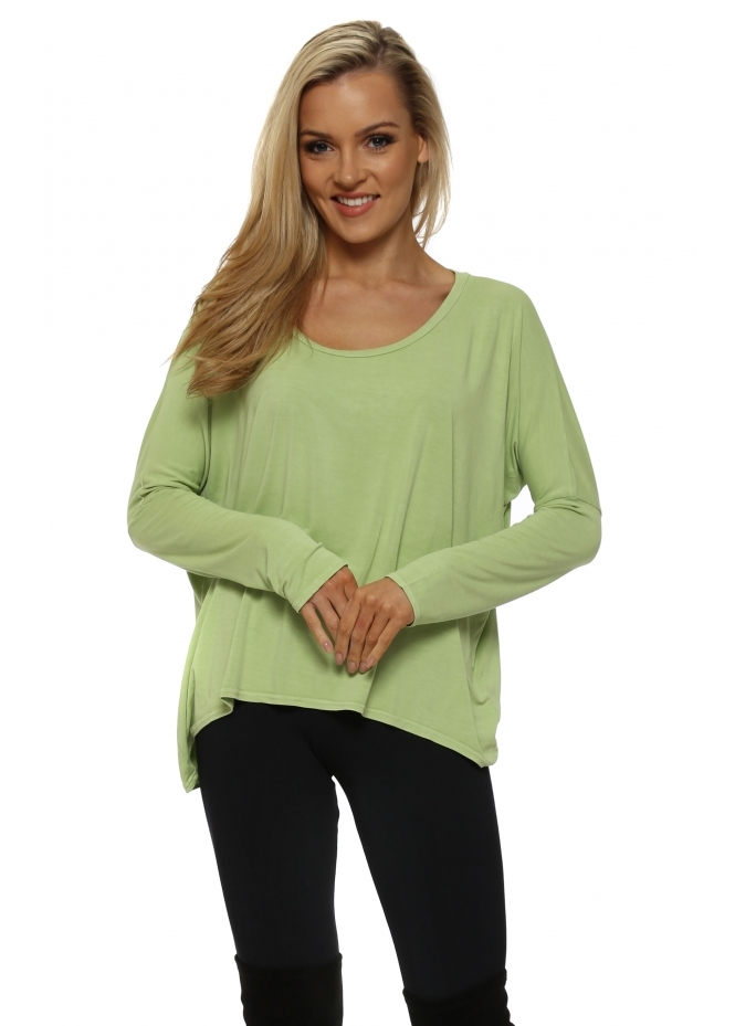 A Postcard From Brighton Karma Long Sleeve Slouch Top In Citrine