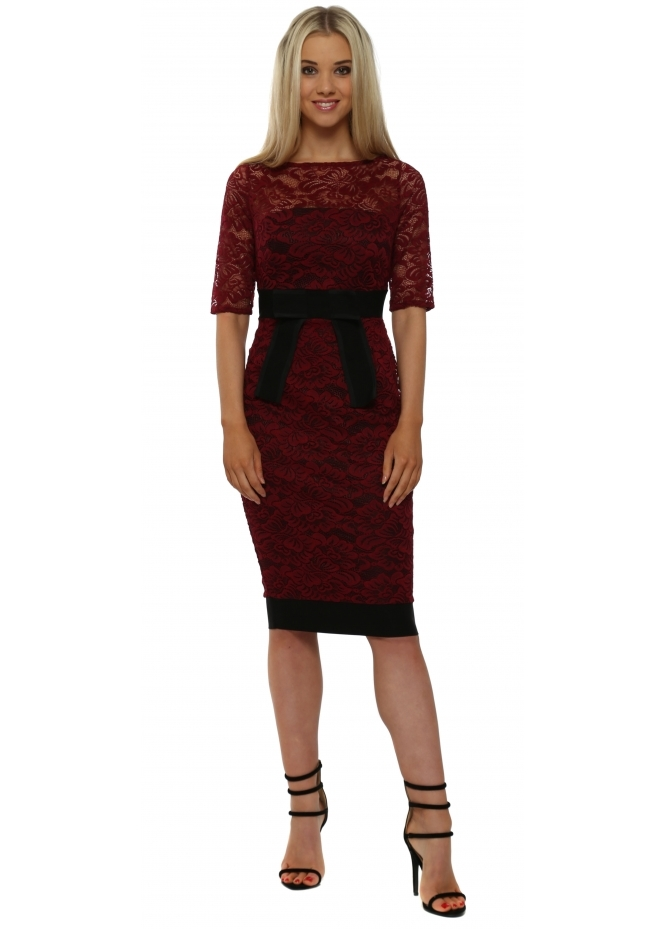 Vesper Isabella Wine Lace Bow Detail Pencil Dress