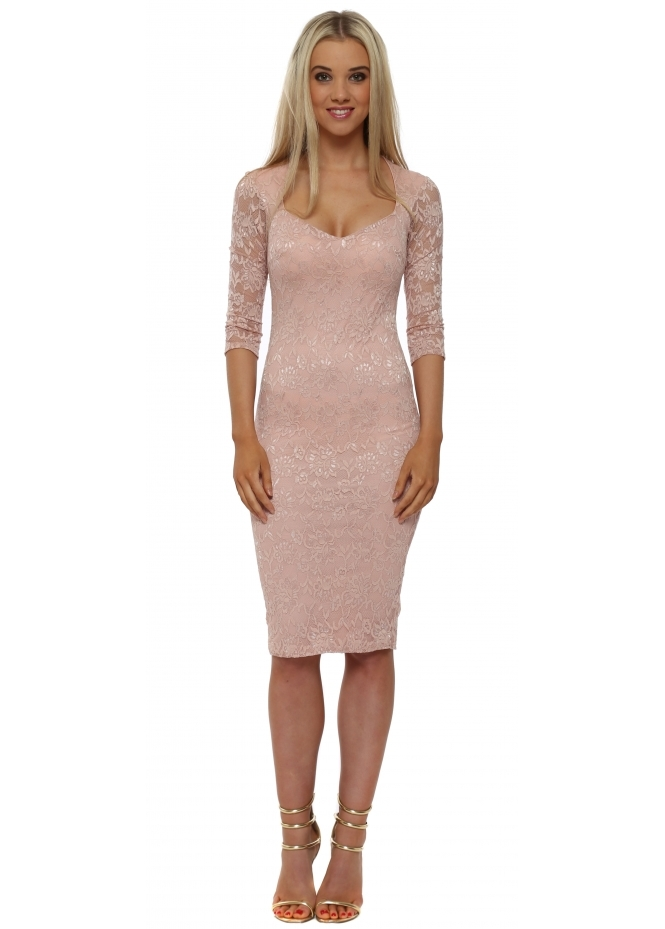 Goddess London Nude Lace Sweetheart Neckline Midi Dress