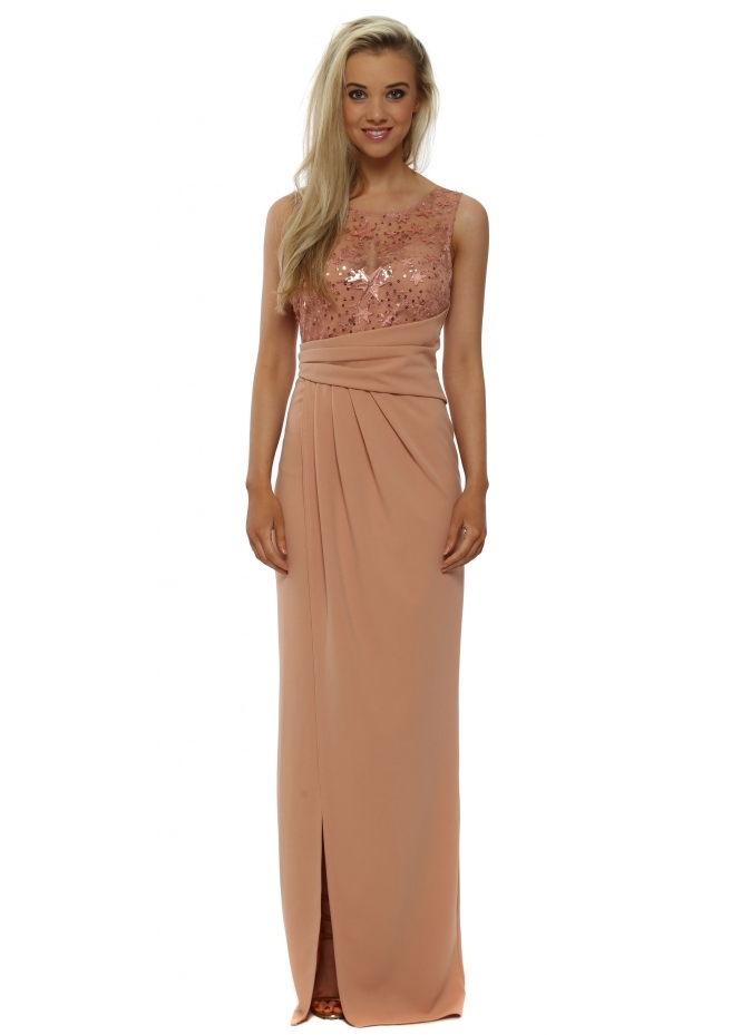 Goddess London Nude Star Sequinned Grecian Wrap Maxi Dress
