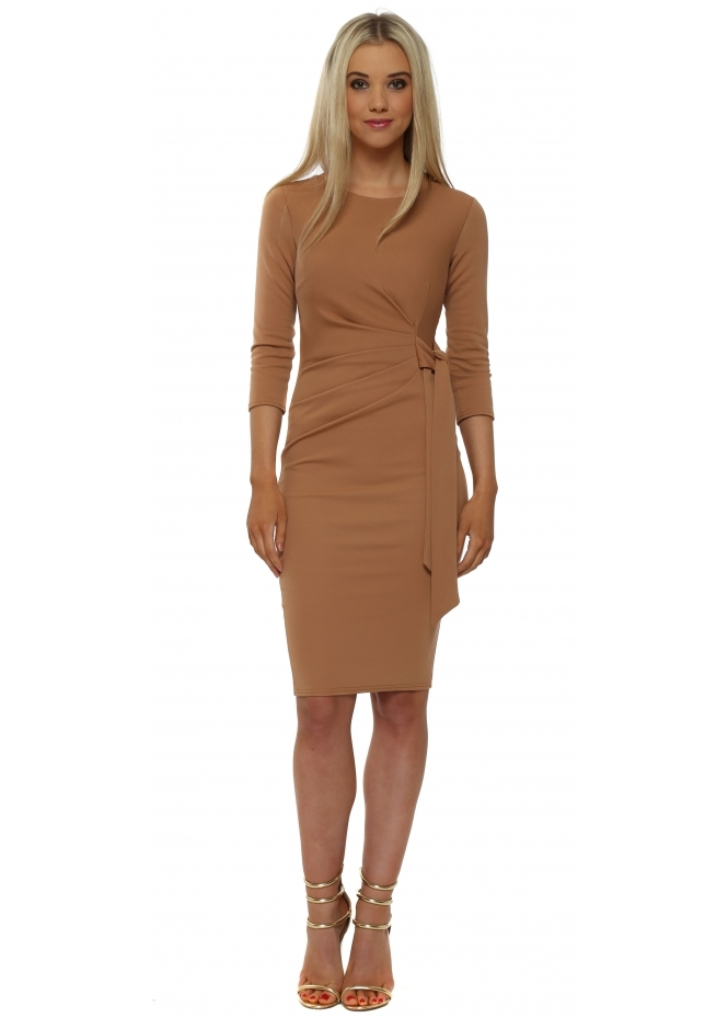 Goddess London Rich Tan Pleated Tie Midi Dress