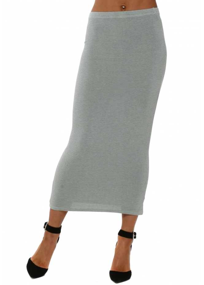 A Postcard From Brighton Fifi Desert Sage Fine Stripe Midi Skirt