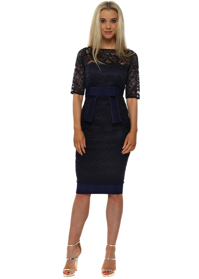 Vesper Isabella Navy Lace Bow Detail Pencil Dress