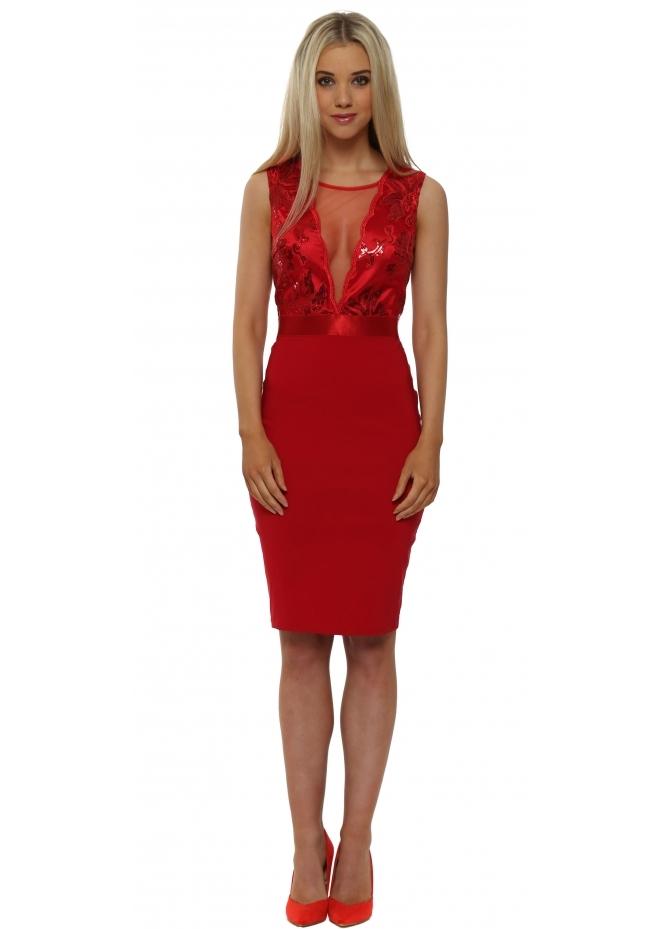 Goddess London Scarlet Red Sequinned Sleeveless Midi Dress
