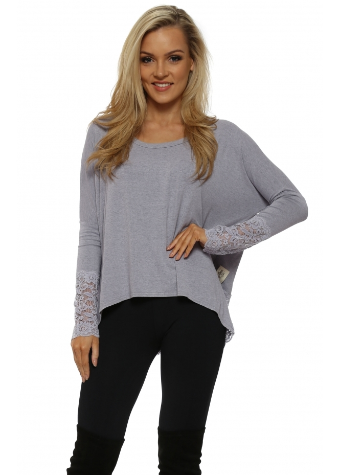 A Postcard From Brighton Eve Glacier Melange Lace Long Sleeved Top