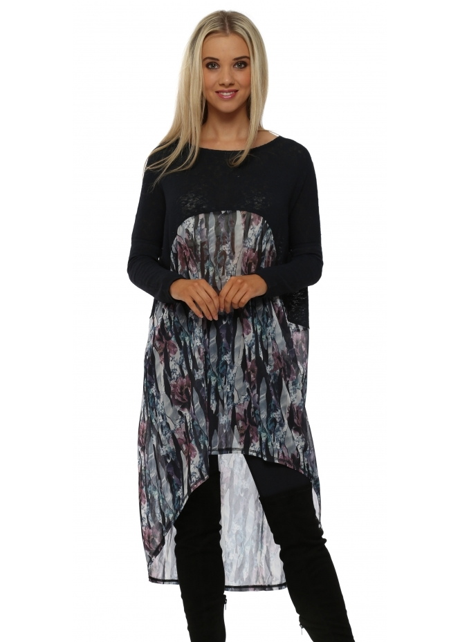 A Postcard From Brighton Juliana Jagged Flower Bone Slub Knit Chiffon Tunic Top