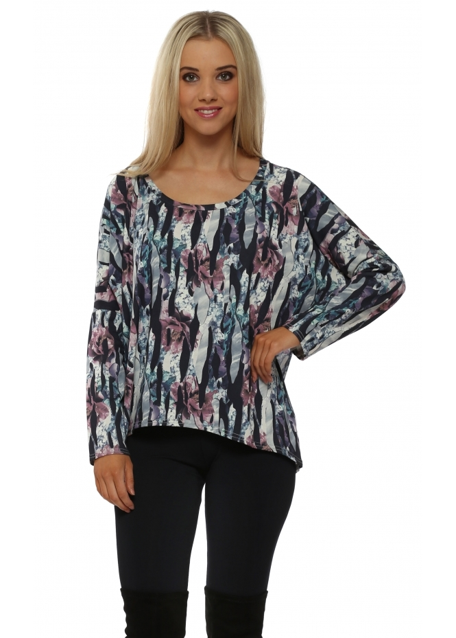 A Postcard From Brighton Josie Jagged Flower Chiffon Back Karma Top In Bone