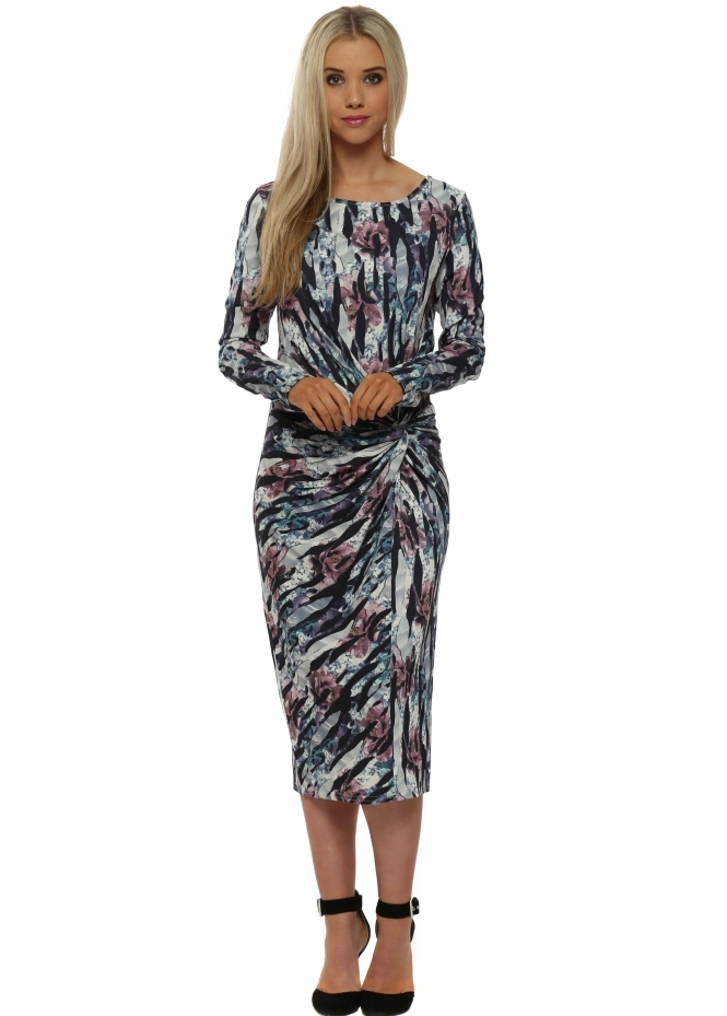 A Postcard From Brighton Jessica Bone Jersey Knot Jagged Flower Midi Dress
