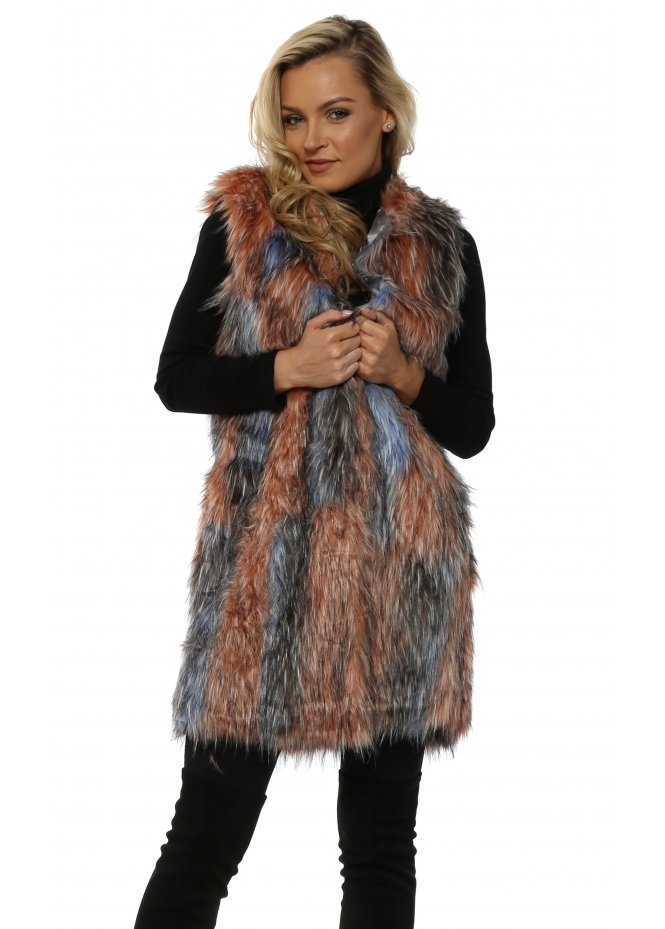 Urban Mist Pastel Pink & Blue Patchwork Faux Fur Long Gilet