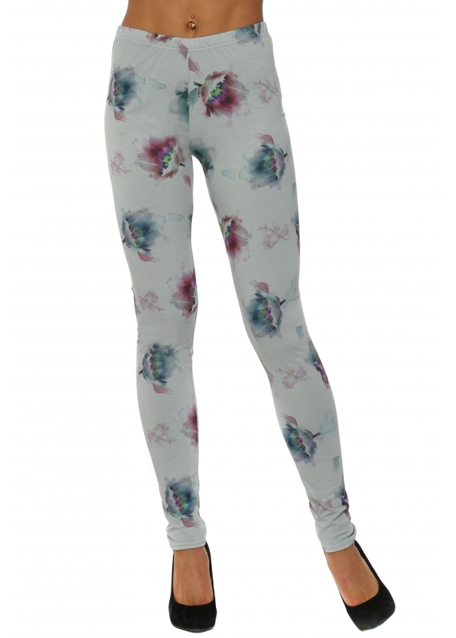 A Postcard From Brighton Botanical Tulip Desert Sage Stretch Fit Jersey Leggings