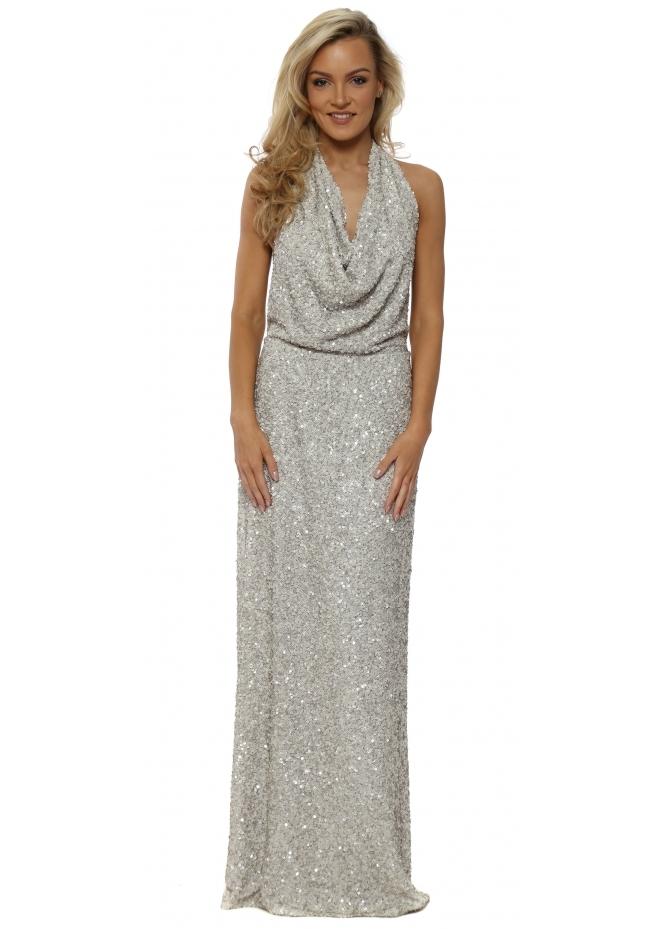 Rebecca Rhoades Draped Backless Sequinned Khloe Dress