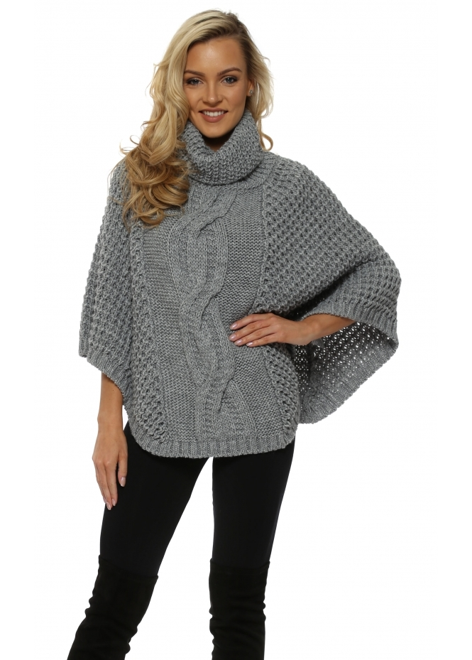J&L Paris Chunky Cable Knit Grey Polo Poncho