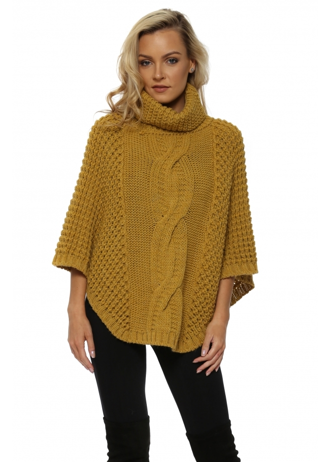 J&L Paris Mustard Chunky Cable Knit Polo Poncho