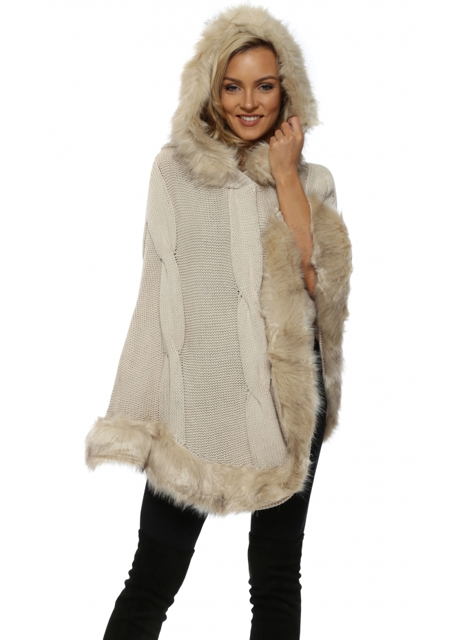 Urban Mist Cream Cable Knit Faux Fur Trim Hooded Poncho