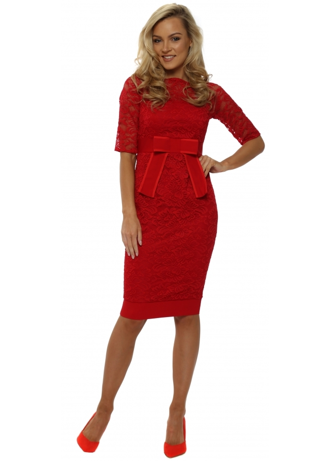 Vesper Isabella Red Lace Bow Detail Pencil Dress
