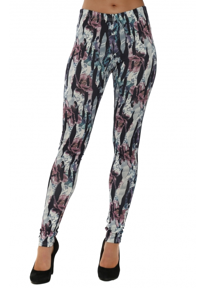 A Postcard From Brighton Jagged Flower Bone Stretch Fit Jersey Leggings