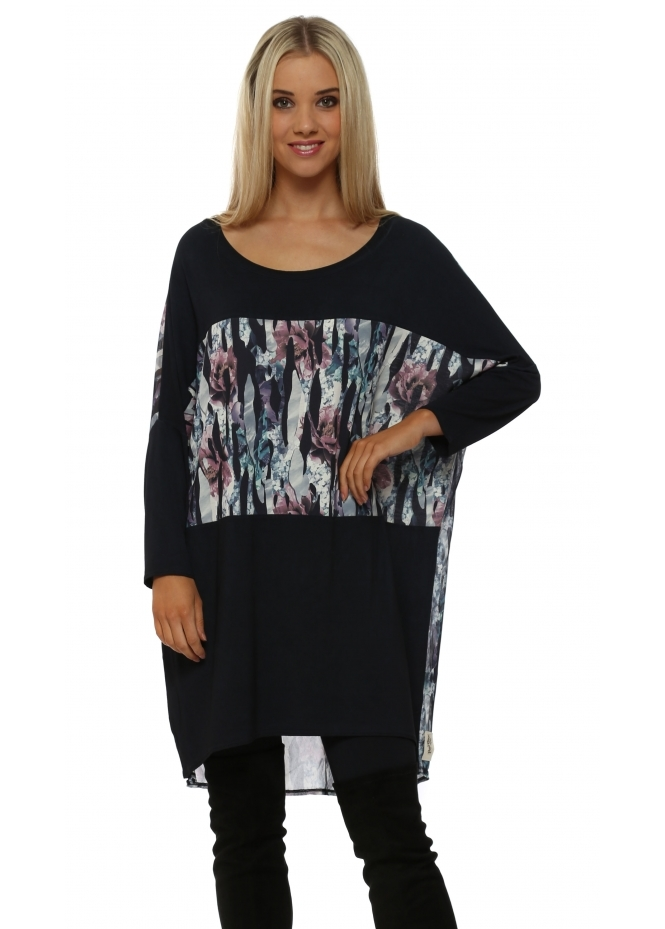 A Postcard From Brighton Joni Jagged Flower Bone Chiffon Block Tunic Top