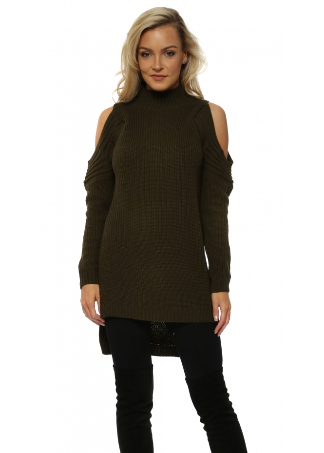 French Boutique Khaki Polo Neck Cold Shoulder Chunky Knit Jumper